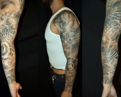 Black And Grey Tattoos Sleeves Ideas