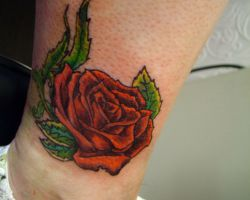 Rose Tattoos On Ankle