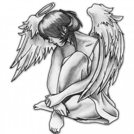 Angel tattoo stencils