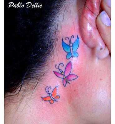 Butterfly Tattoos Behind Ear