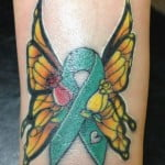 Cancer Ribbon Butterfly Tattoo Designs