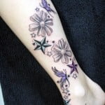 Flower Butterfly And Star Tattoos