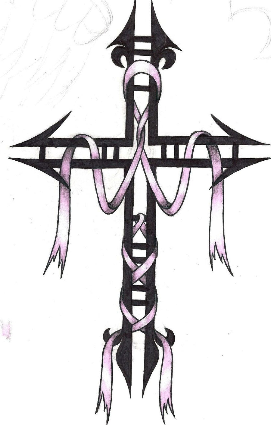 Cross And Cancer Ribbon Tattoo