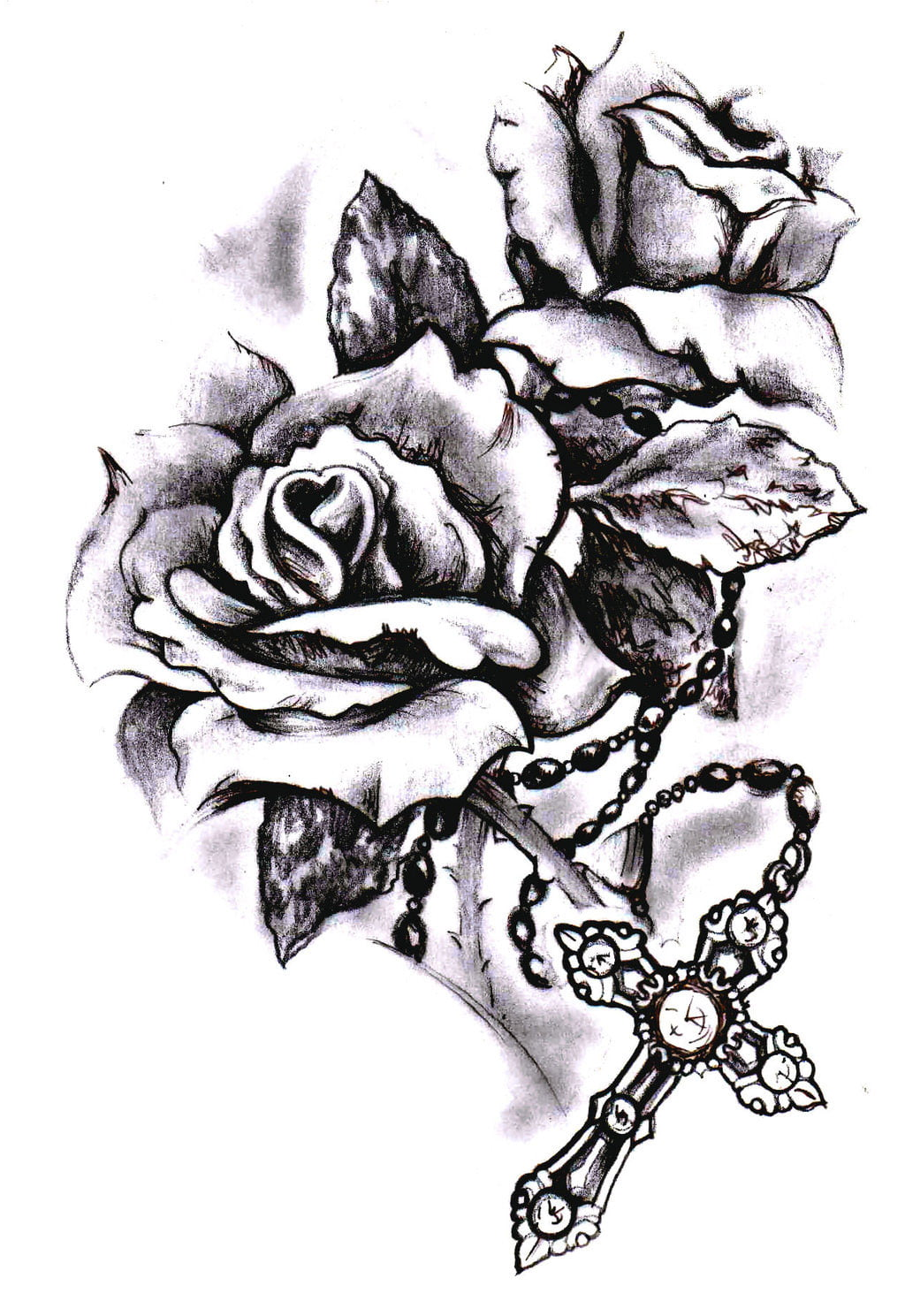 Cross With Rose Tattoos