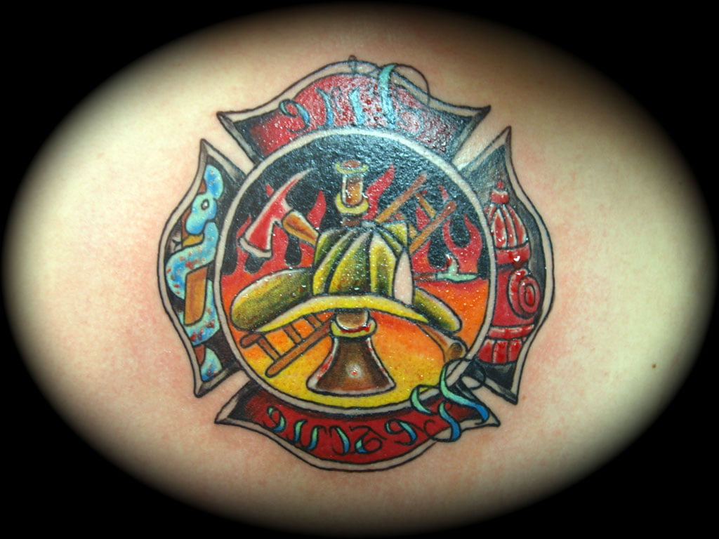 Firefighter Maltese Cross Tattoos Designs