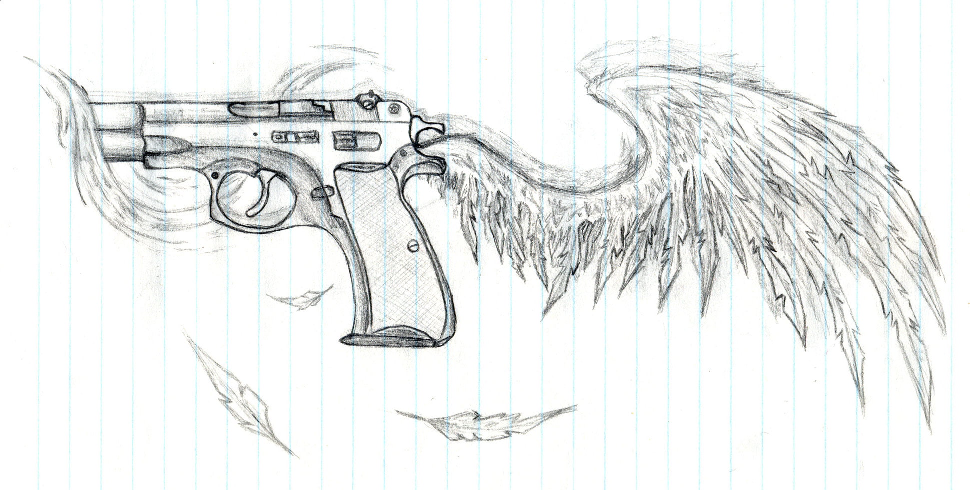 Gallery For gt Winged Gun Tattoo Design