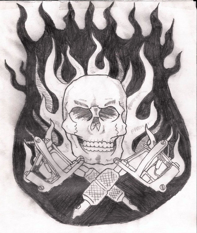 Tattoos Of Skulls And Guns
