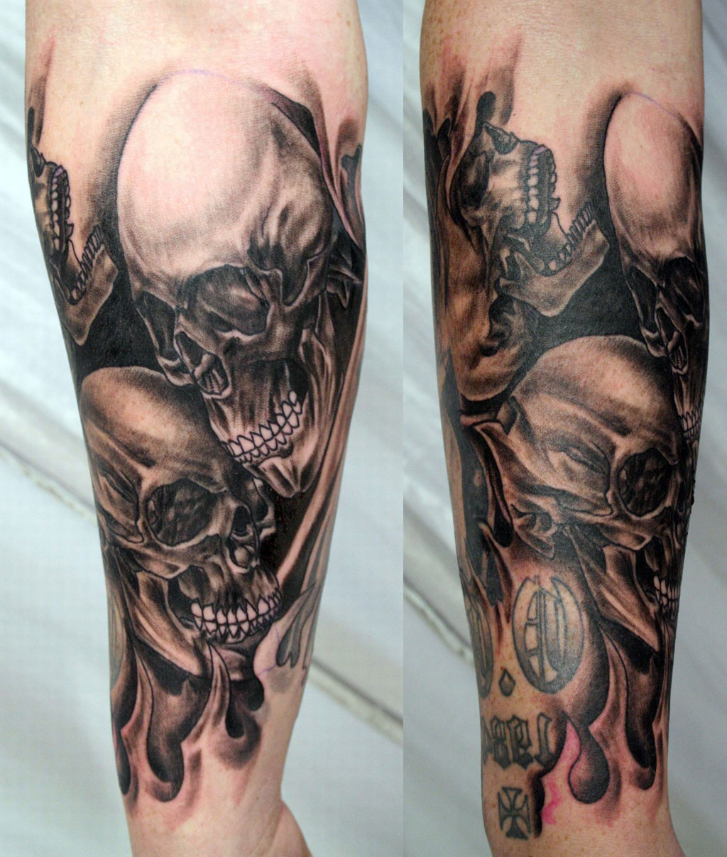 Full Sleeve Skull Tattoos
