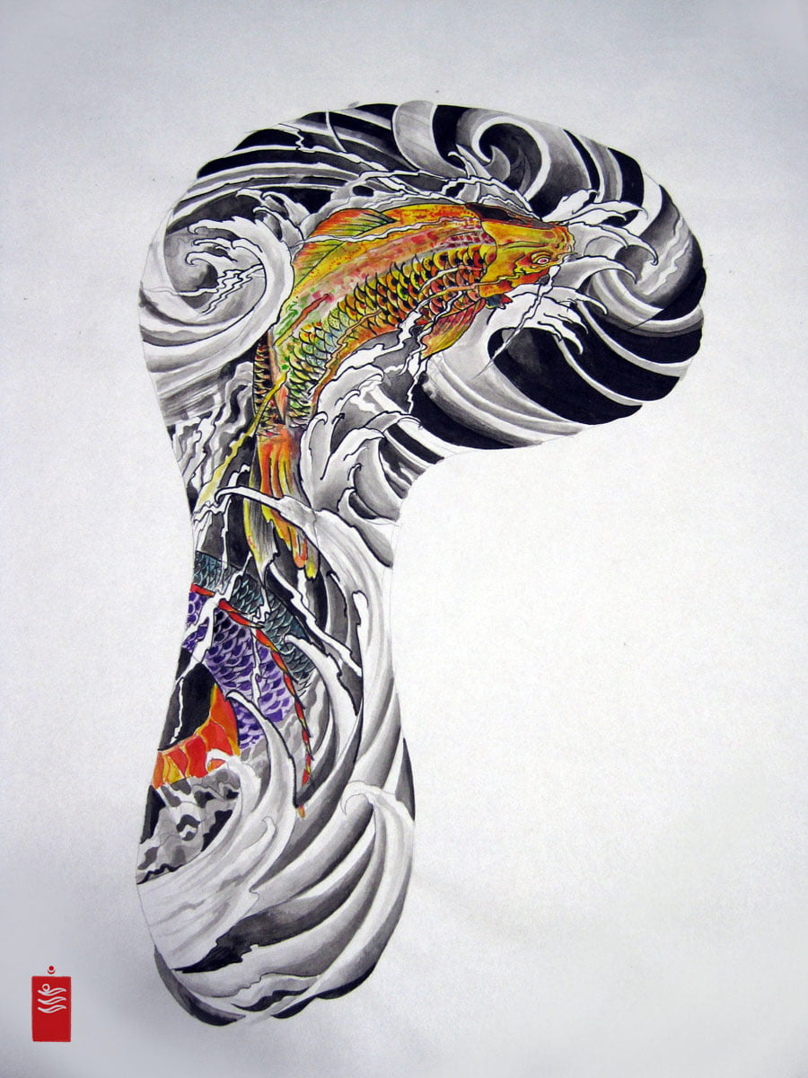 Image gallery koi sleeve tattoo outline for Japanese koi design