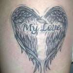 Heart Shaped Angel Wings Tattoo