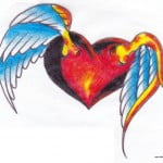 Heart With Angel Wings Tattoos