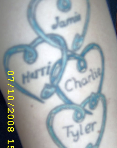Hearts With Names Tattoos