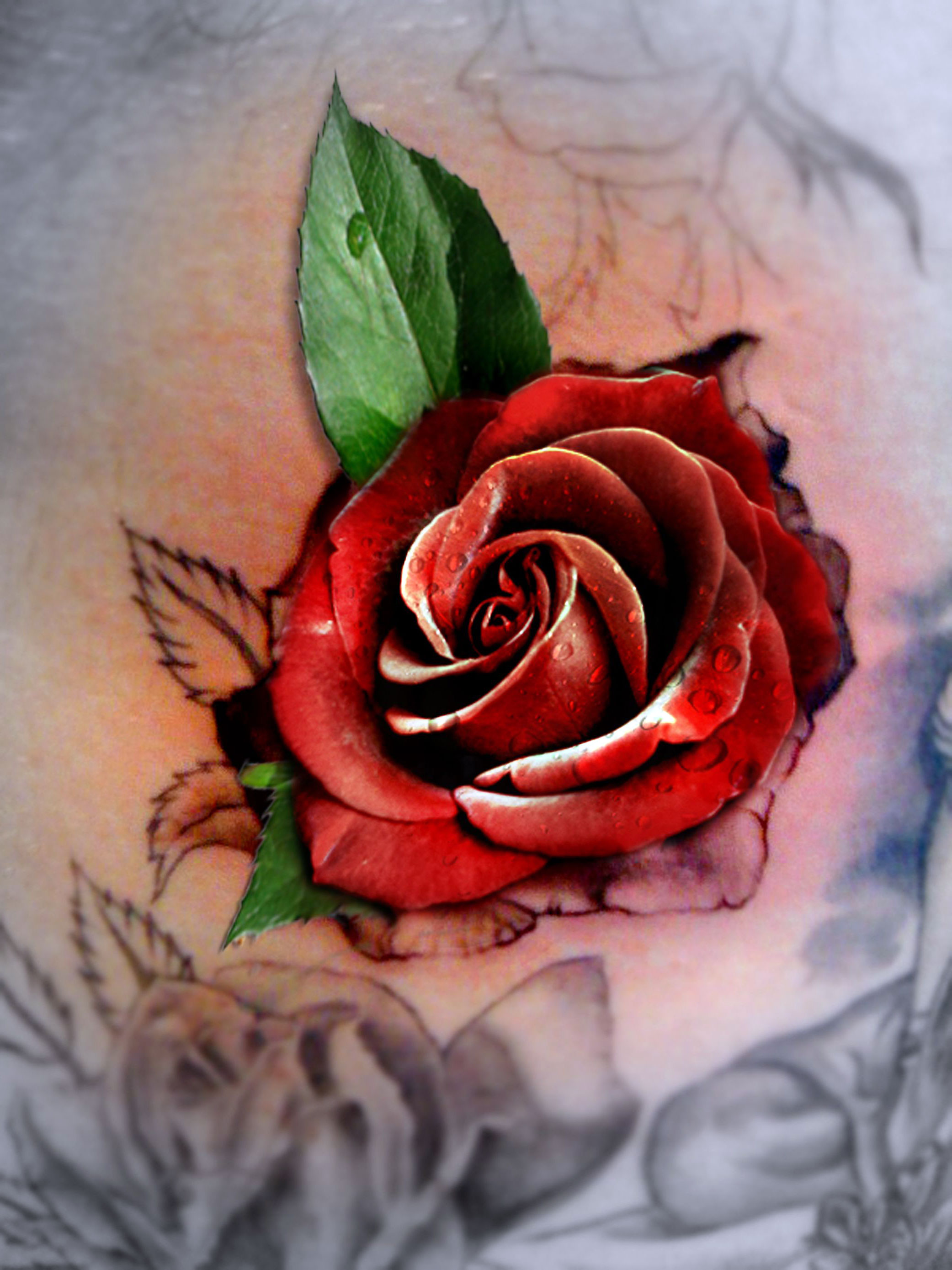 3d Rose Tattoos
