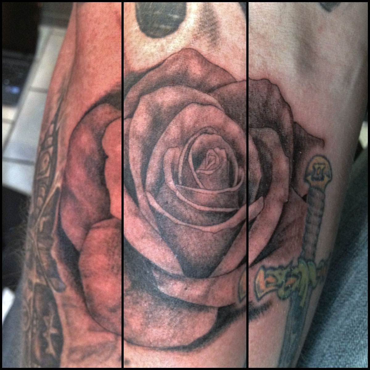 Black Grey Rose Tattoos