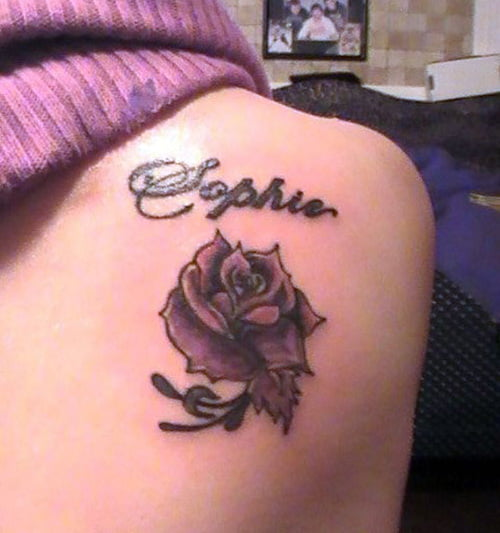 Top rose with name images for pinterest tattoos for Cool rose tattoos
