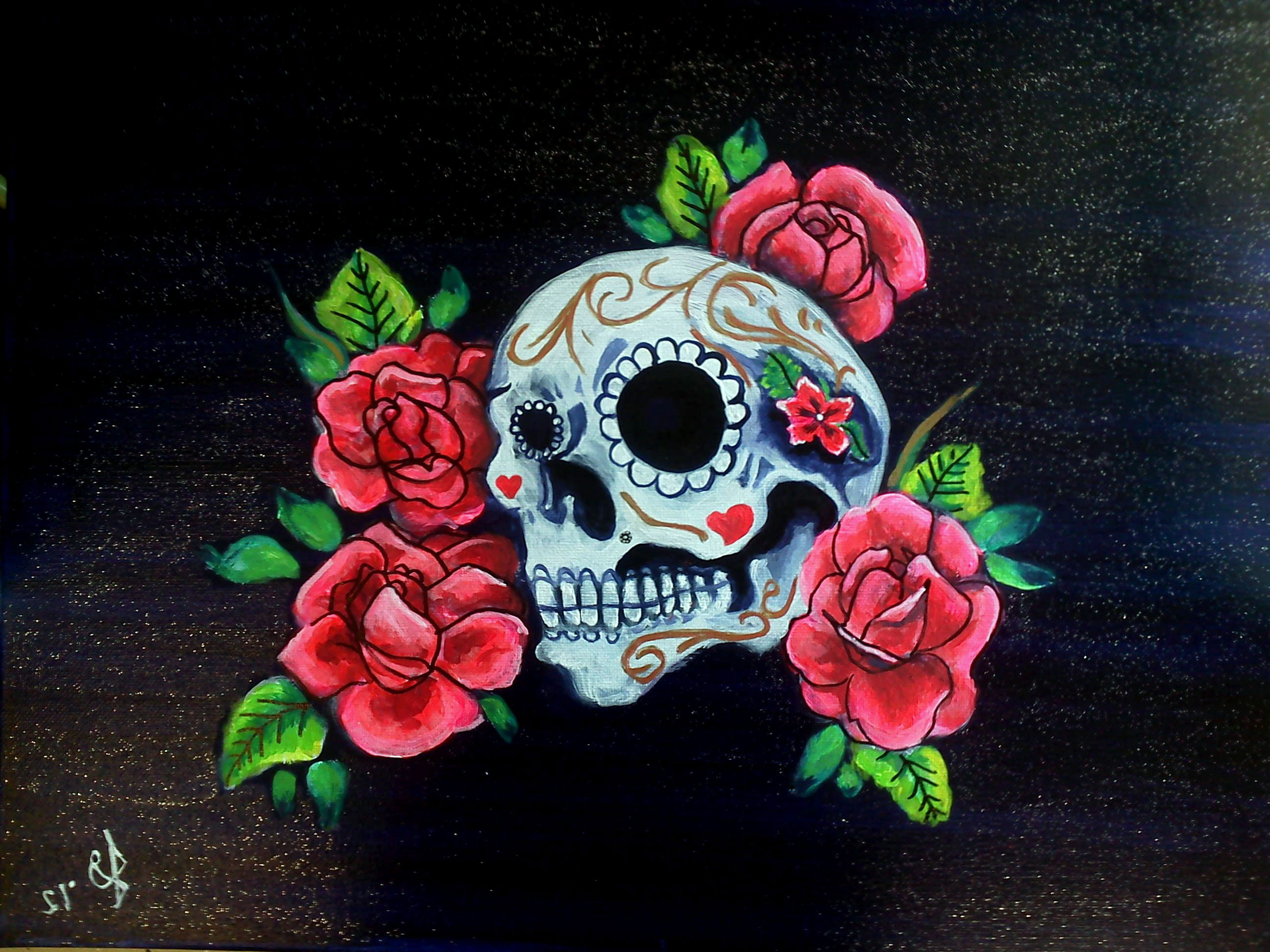 Skull And Roses Tattoo Pictures