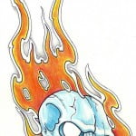 Skull And Flame Tattoo Designs
