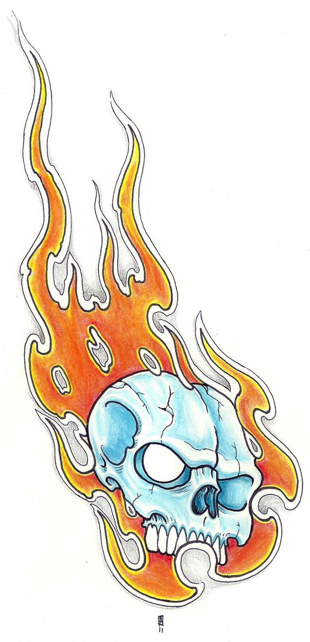 Skull And Flame Tattoo Designs | Cool Tattoos - Bonbaden