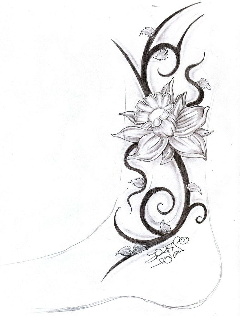 Flower tribal tattoos women cool tattoos bonbaden for Women s tribal tattoos designs