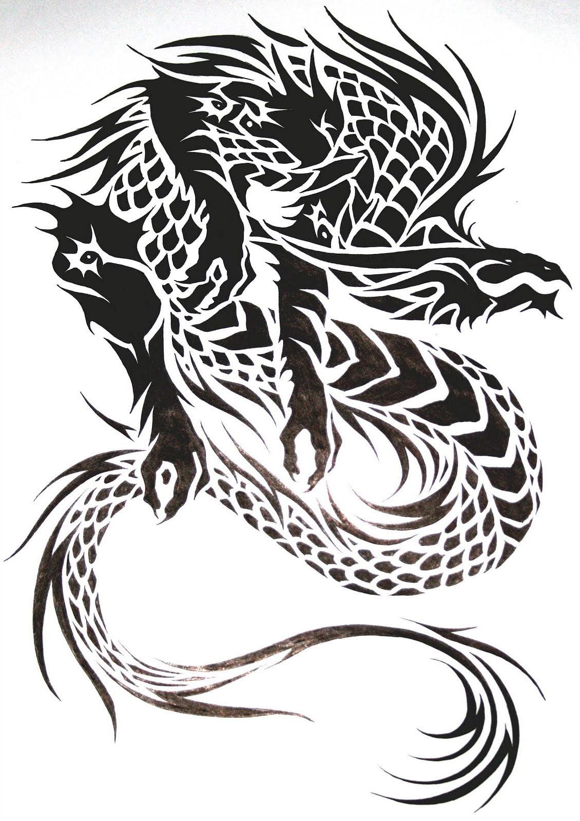 tribal dragon tattoo design cool tattoos bonbaden. Black Bedroom Furniture Sets. Home Design Ideas